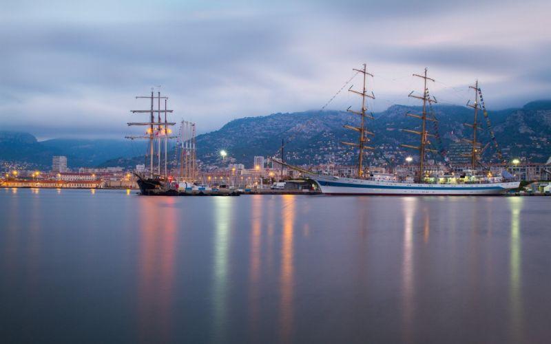 France Ships Sea Coast Mountains Sailing Toulon Mediterranean Sea Cities wallpaper