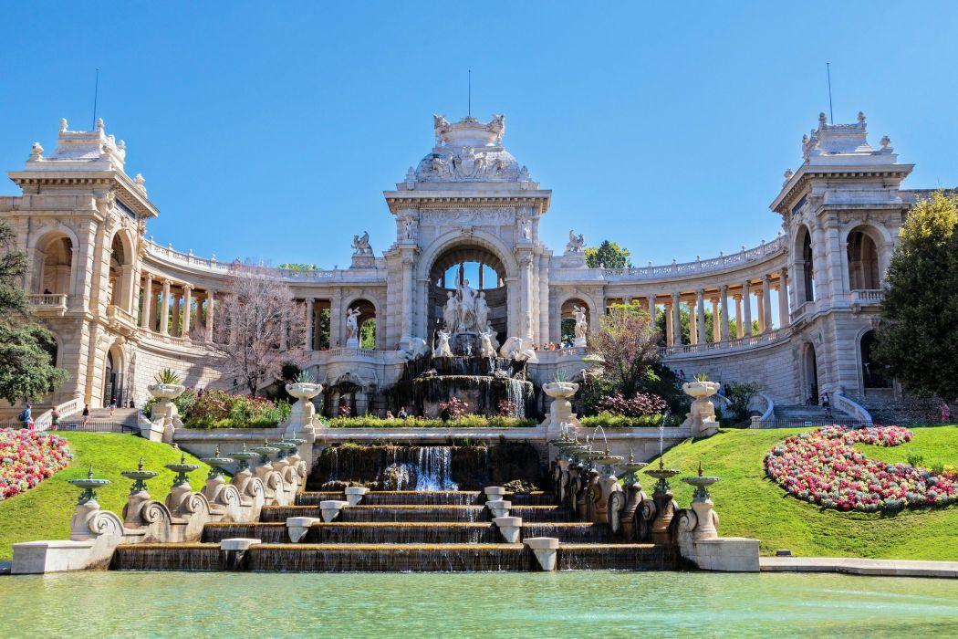 France Sculptures Waterfalls Palace Palais Longchamp Marseille Cities wallpaper