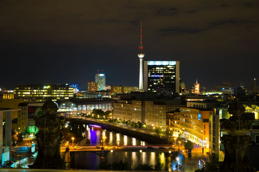 Germany Berlin Houses Rivers Bridges Night Street lights Cities wallpaper