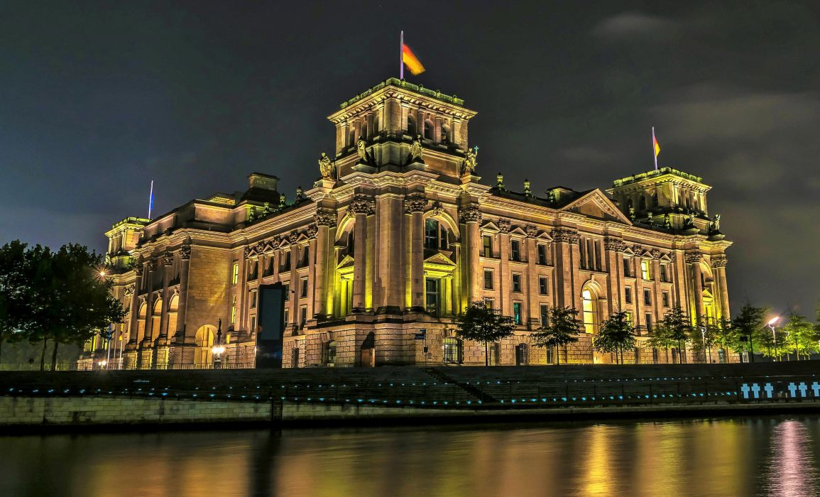 Germany Berlin Rivers Houses Night Reichstag Cities wallpaper