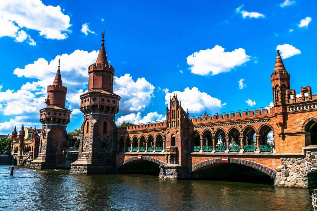 Germany Berlin Rivers Bridges Sky Design Clouds Cities wallpaper