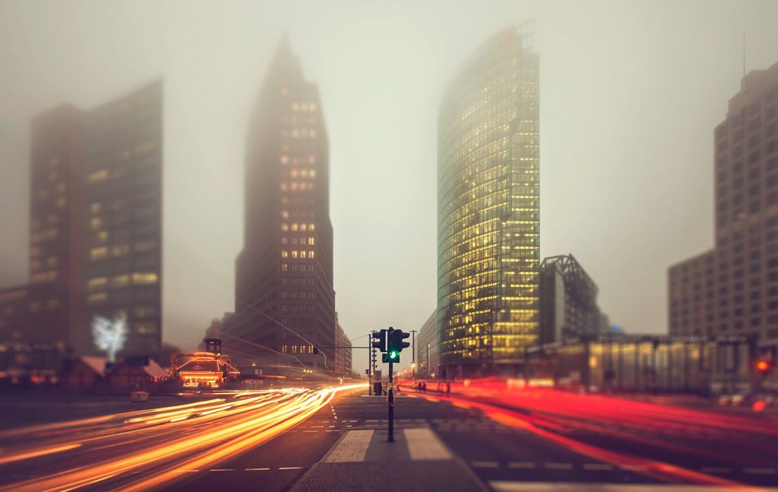 Germany Berlin Roads Fog Street Motion Cities wallpaper