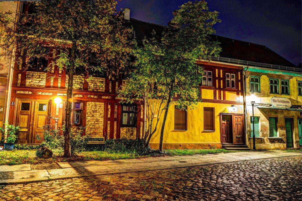 Germany Berlin Houses HDR Trees Night Street lights Street Cities wallpaper