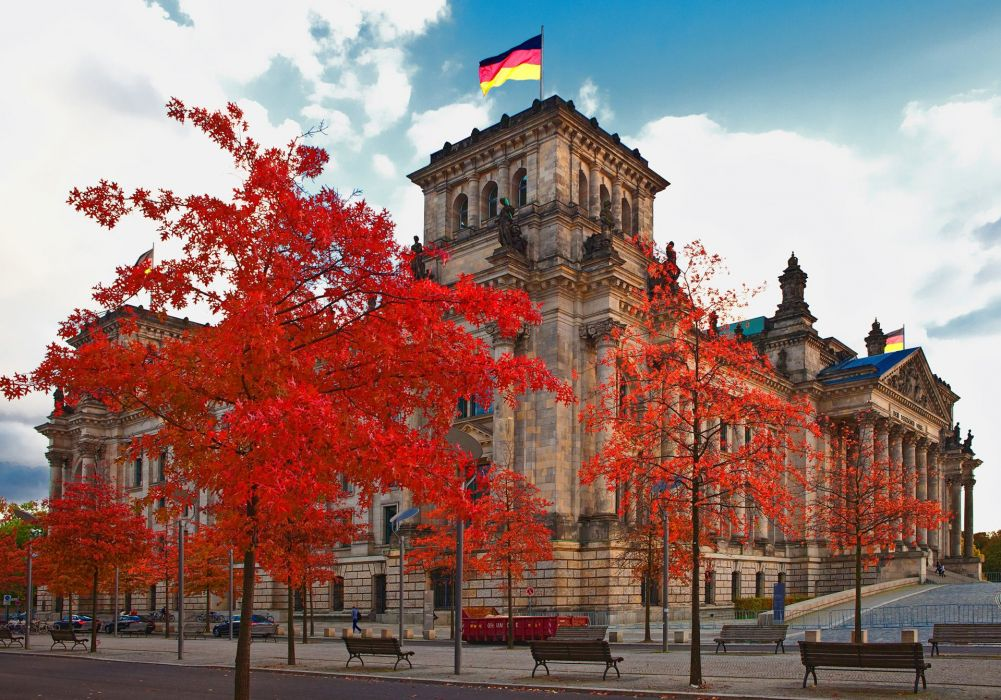 Germany Berlin Street Bench Reichstag building Cities wallpaper