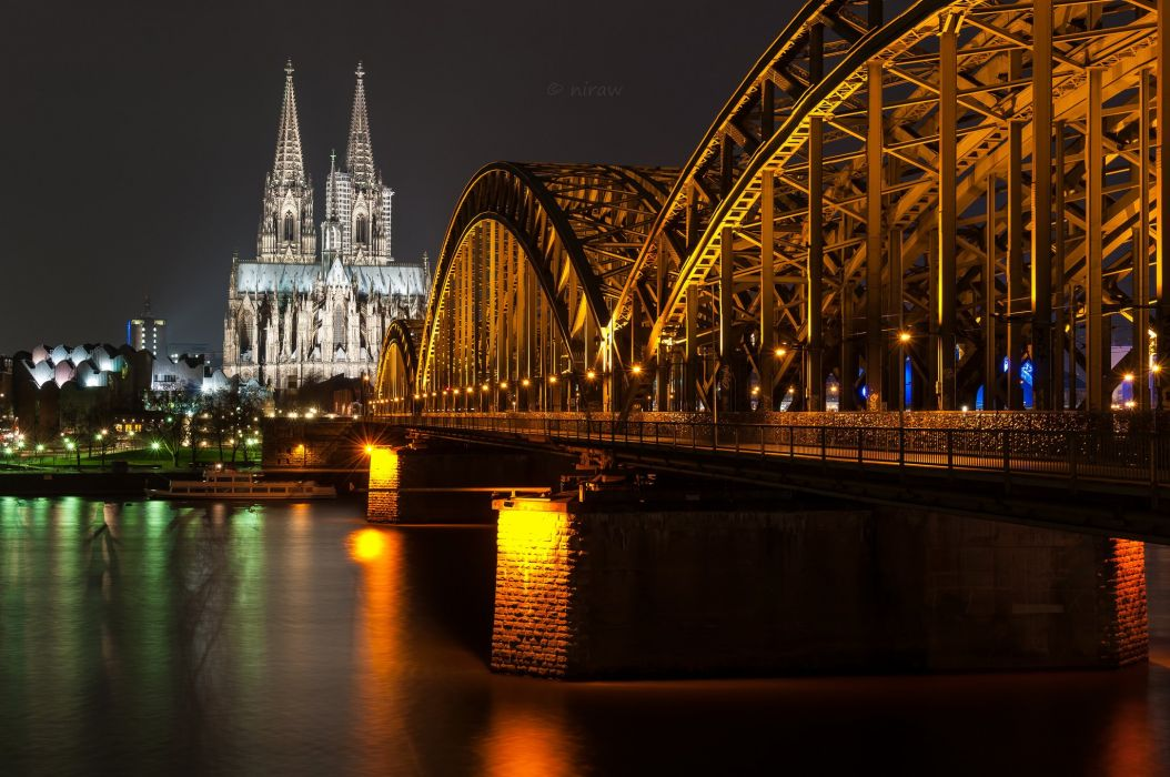Germany Bridges Rivers Night Cologne Cities wallpaper