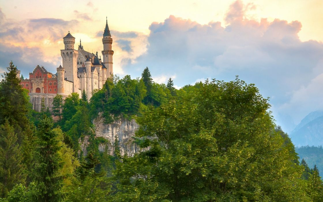 Germany Castles Mountains Neuschwanstein Bavaria Trees Clouds Cities wallpaper