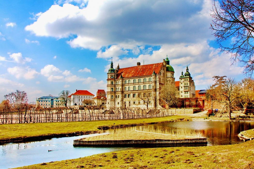 Germany Castles Pond Sky Clouds Cities wallpaper