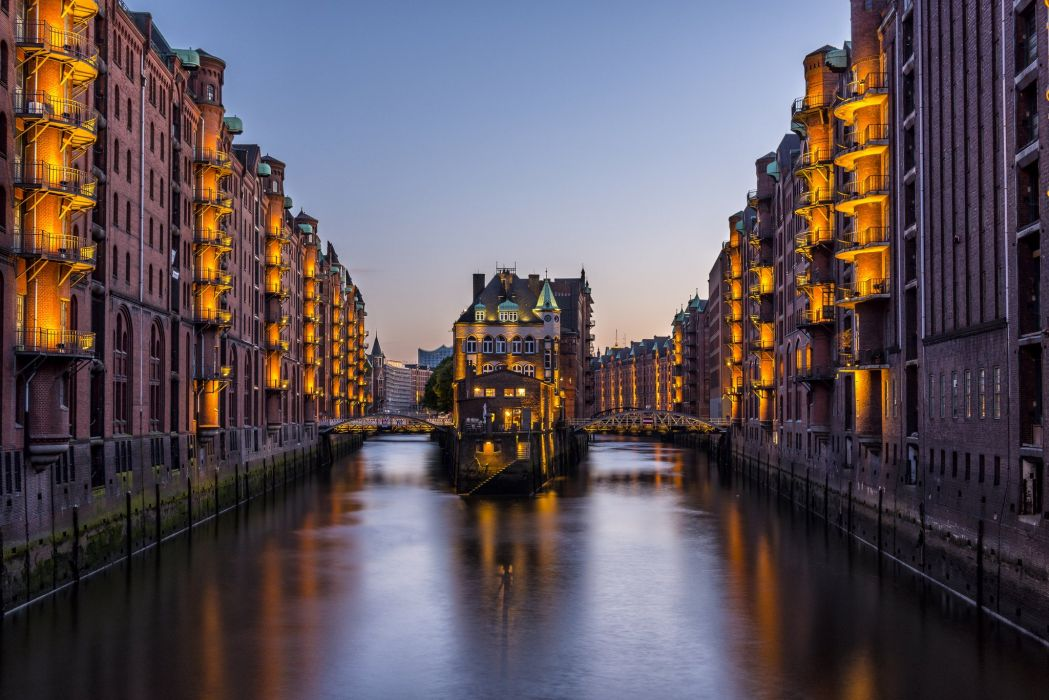 Germany Hamburg Houses Canal Cities wallpaper