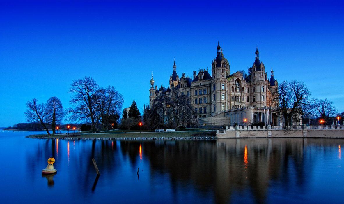 Germany Castles Rivers Coast Night Schwerin Cities wallpaper