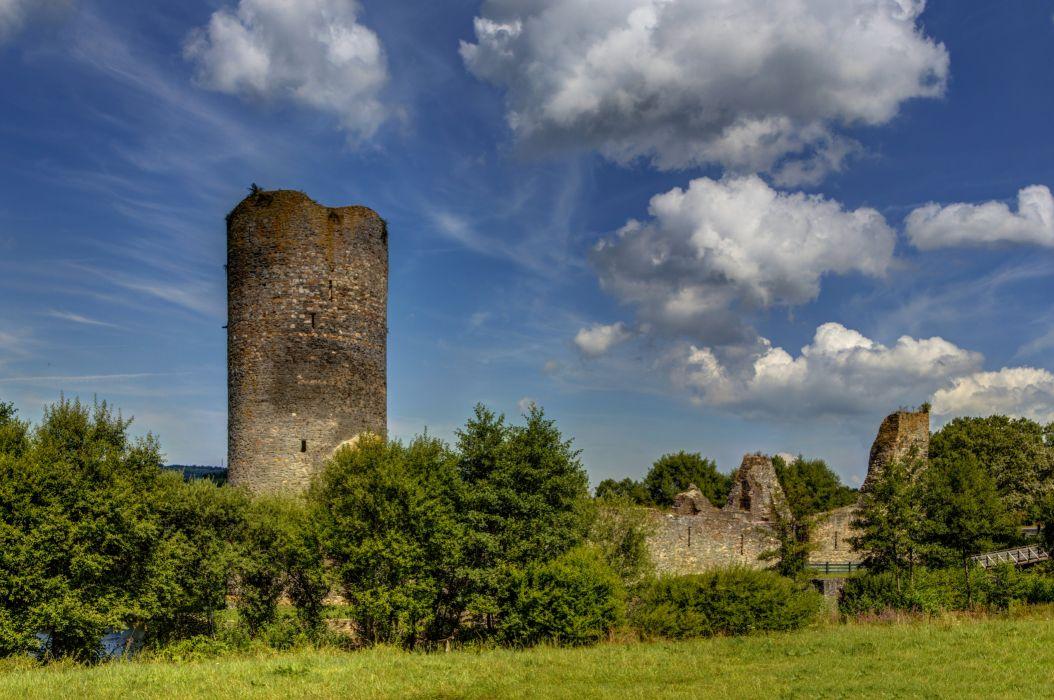 Germany Castles Ruins Sky Trees Clouds Burg Balduinstein Ruine Cities wallpaper