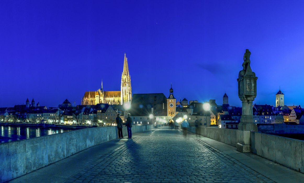 Germany Houses Bridges Night Street lights Regensburg Cities wallpaper