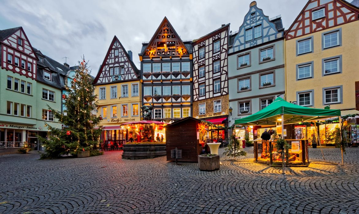 Germany Christmas Holidays Houses Cochem Christmas tree Street Cities wallpaper