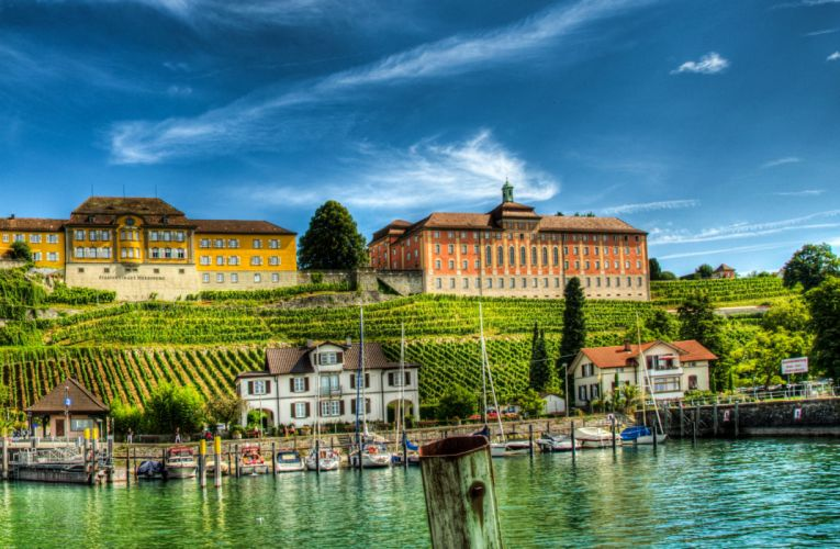 Germany Houses Fields Marinas Sky HDR Meersburg Lake Constance Cities wallpaper