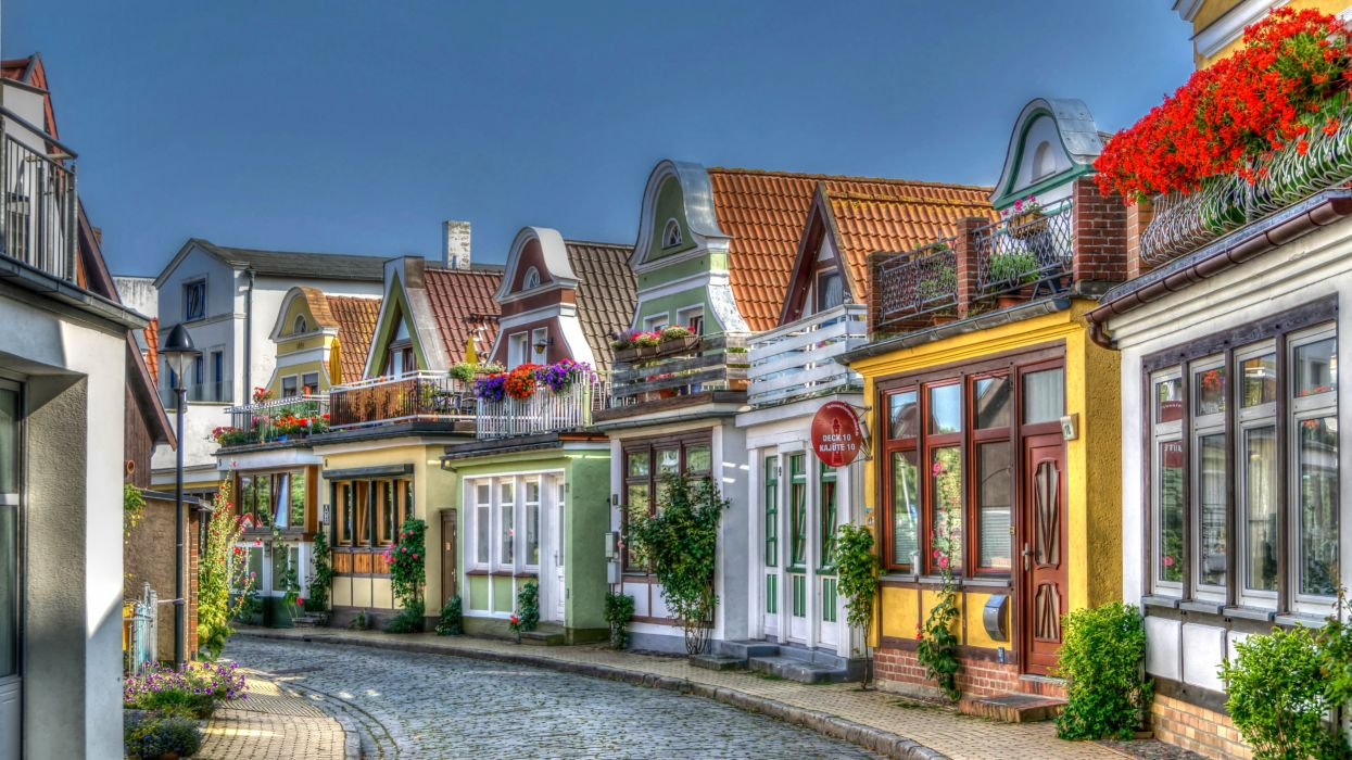 Germany Houses HDR Street Rostock Warnemuende Cities wallpaper