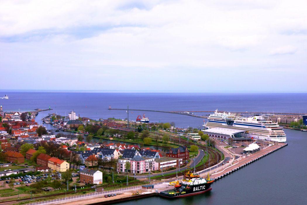 Germany Houses Marinas Roads Ships Coast Rostock Warnemuende Cities wallpaper