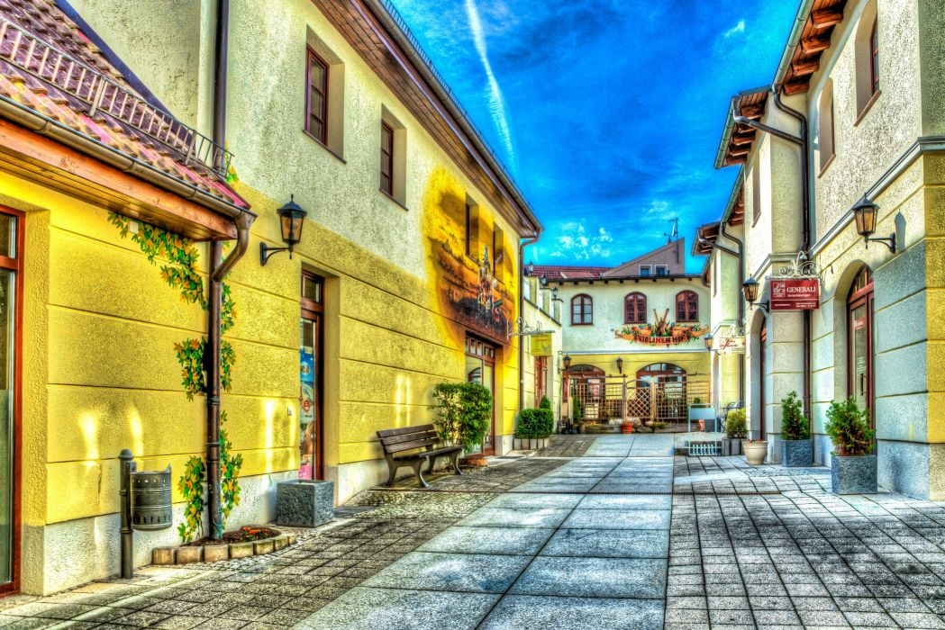 Germany Houses HDR Street Strausberg Cities wallpaper