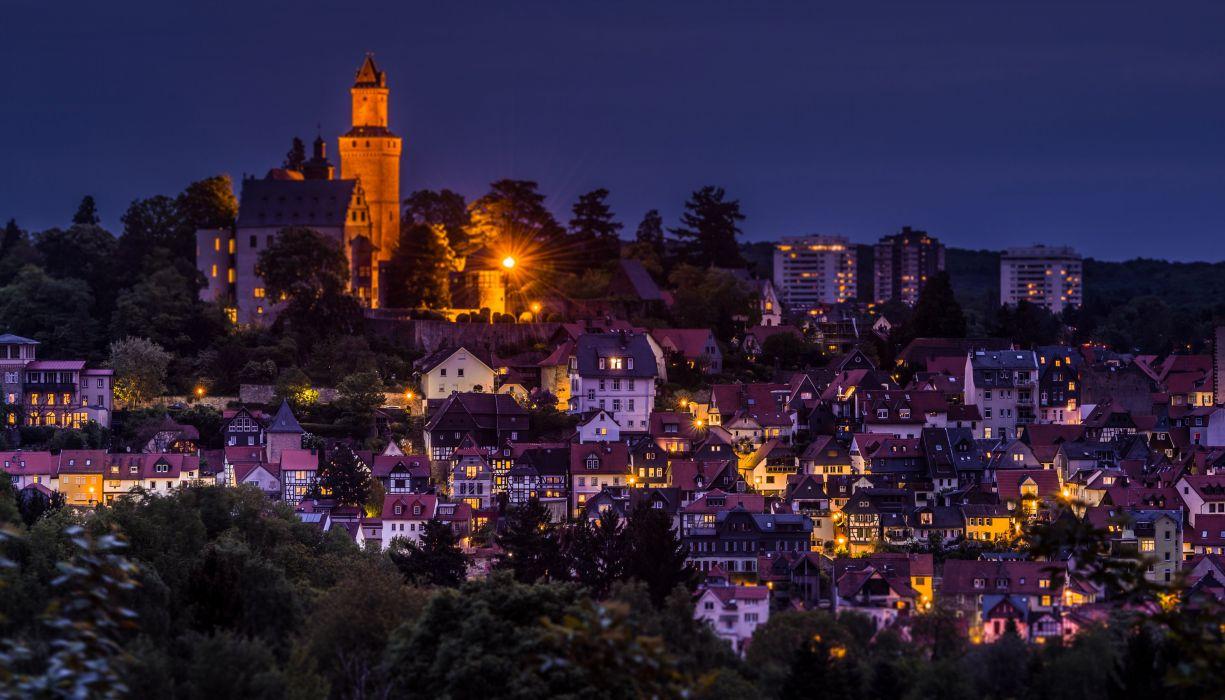 Germany Houses Night Street lights Kronberg Cities wallpaper