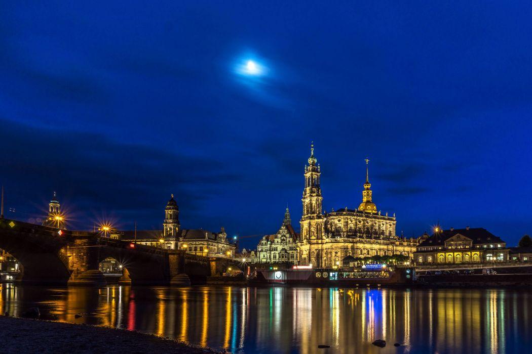 Germany Houses Rivers Bridges Sky Dresden Night Street lights Cities wallpaper