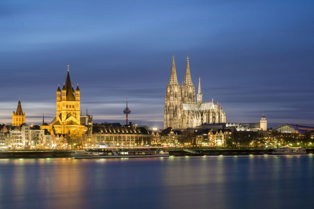 Germany Houses Rivers Marinas Night Street lights Cologne Cities wallpaper