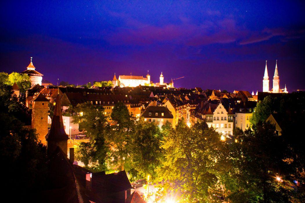Germany Houses Night Nurnberg Cities wallpaper