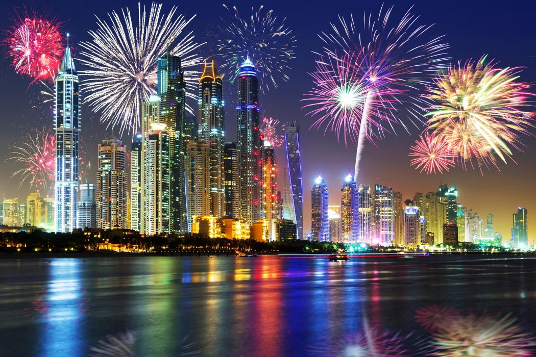 Emirates UAE Dubai Skyscrapers Sky Fireworks Holidays Christmas Night Cities wallpaper
