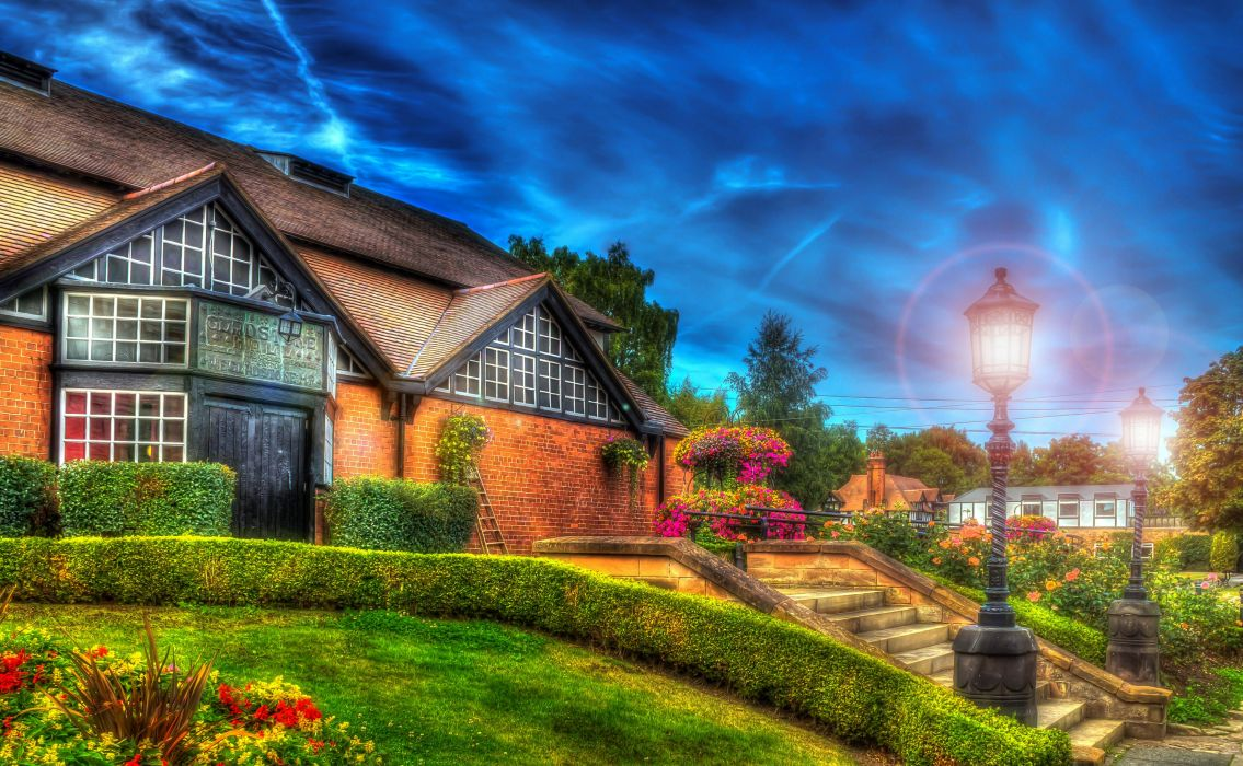England Houses Stairs Shrubs Street lights HDR Bebington Cities wallpaper