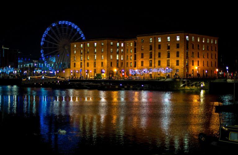 England Houses Rivers Ferris wheel Night Liverpool Cities wallpaper