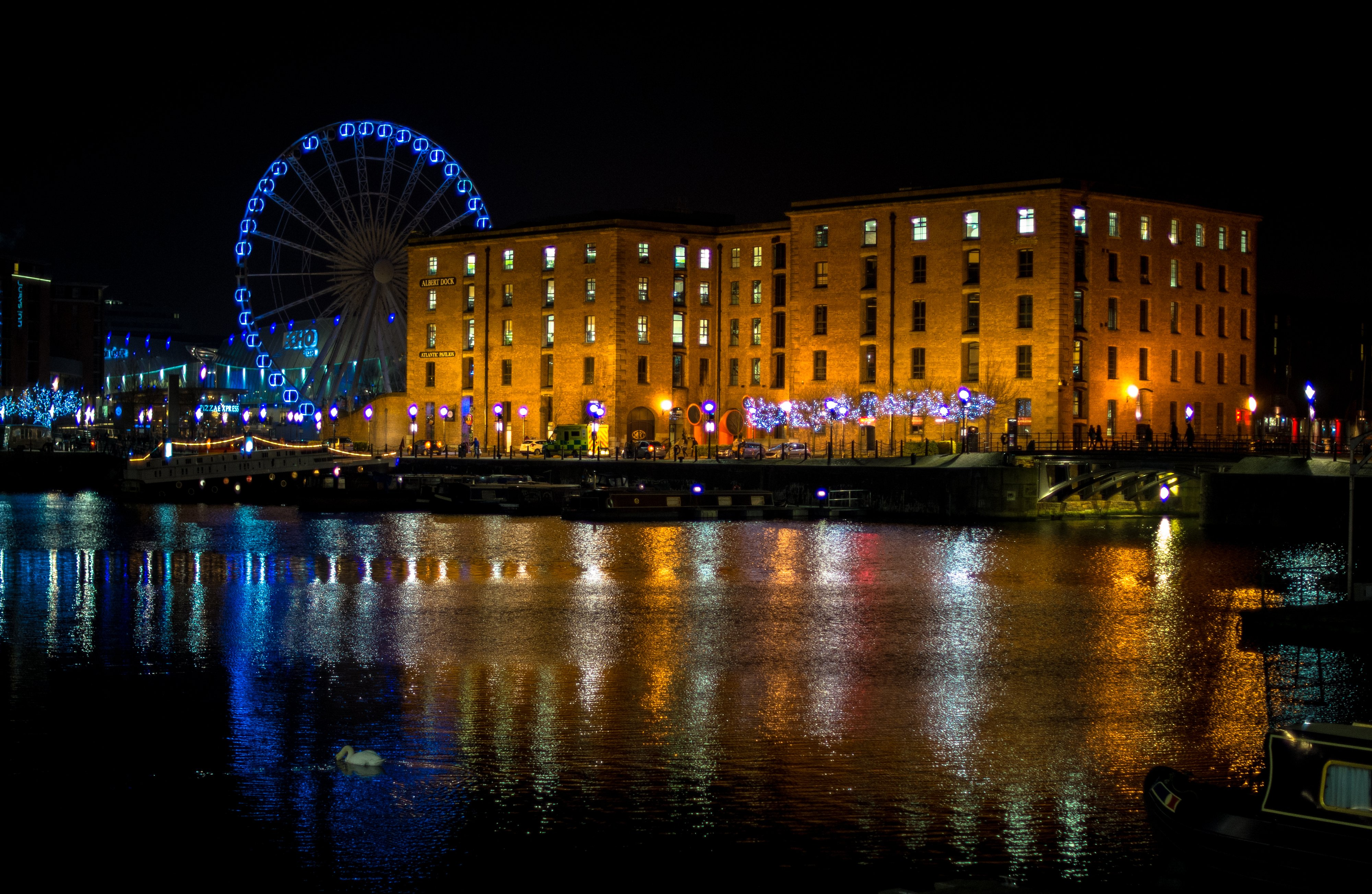 England Houses Rivers Ferris wheel Night Liverpool Cities ...