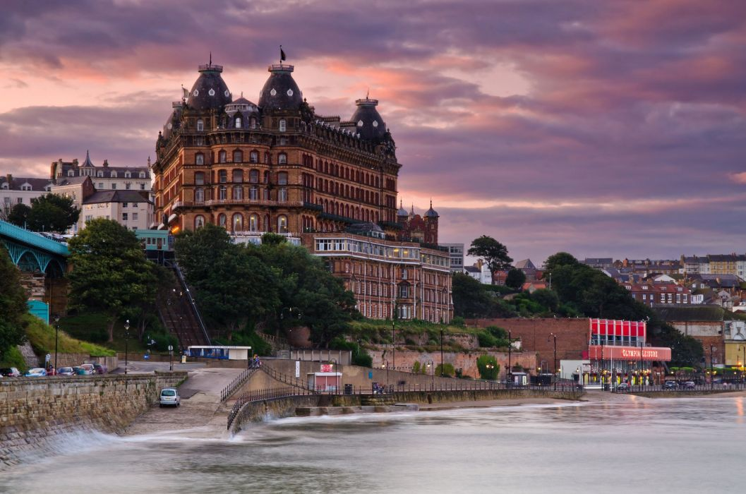 England Sea Coast Houses Scarborough North Yorkshire Cities wallpaper