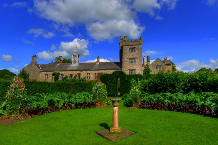 England Parks Fountains Mansion Shrubs Lawn Levens Hall Kendal Cities wallpaper