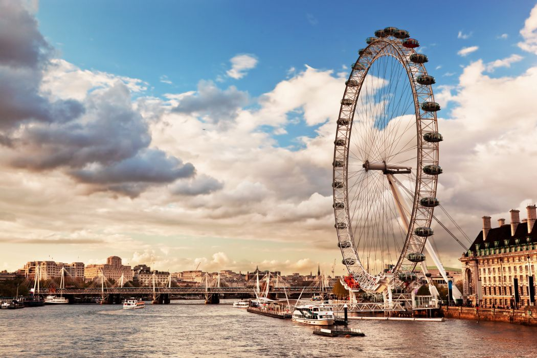 England Rivers Sky London Ferris wheel Clouds Thames River skyline the London Eye Cities wallpaper