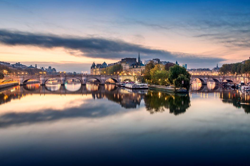 France Bridges Rivers Sky Paris Cities wallpaper
