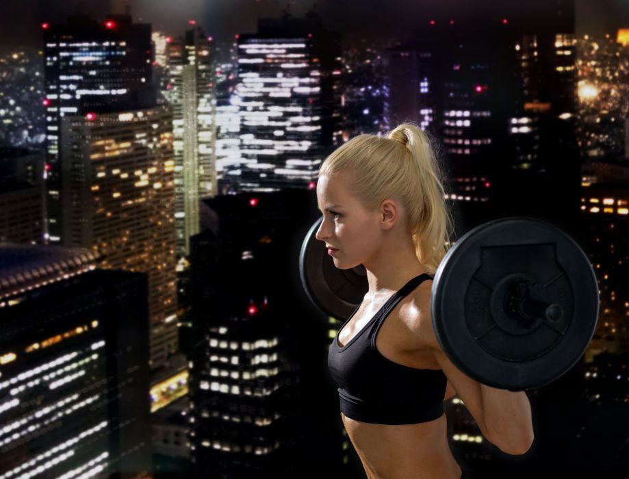 Fitness Night Barra Singlet Blonde girl Sport Girls Cities wallpaper