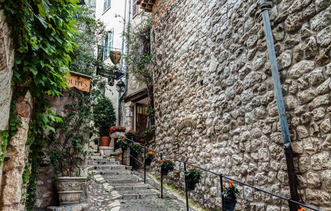 France Cafe Stairs Saint-Paul-de-Vence Cities wallpaper