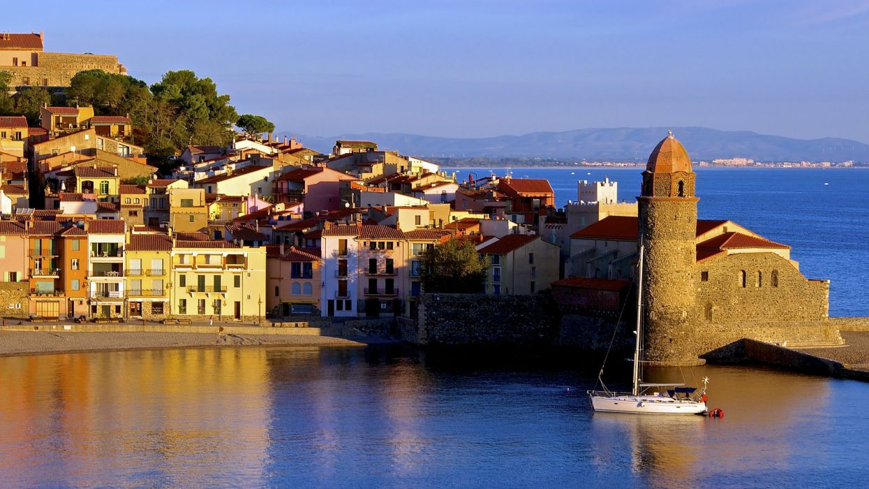 France Coast Houses Collioure Cities wallpaper