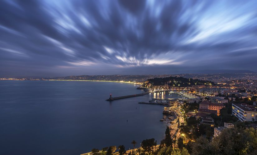 France Coast Houses Lighthouses Night Nice Cities wallpaper