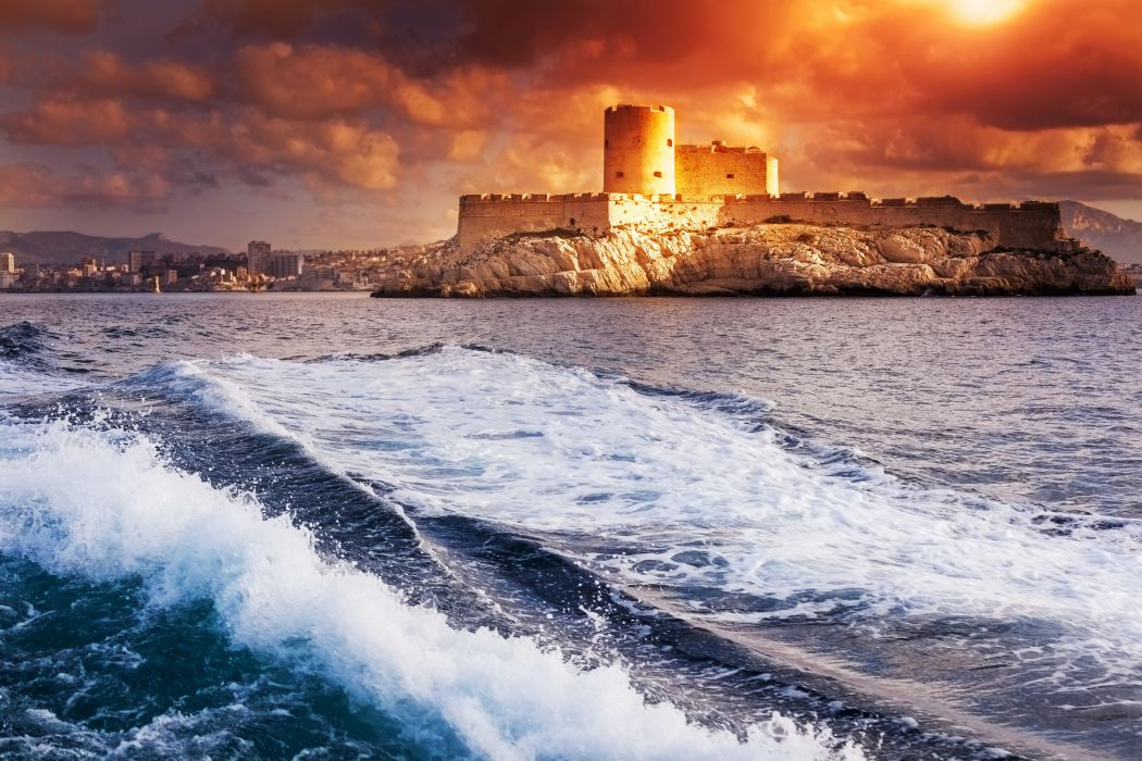 France Castles Sea Sunrises and sunsets Waves Monte-Cristo if castle Marseille Cities wallpaper