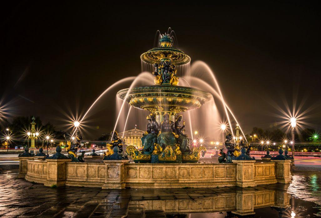 France Fountain Sculptures Paris Night Street lights Fontaines de la Concorde Cities wallpaper