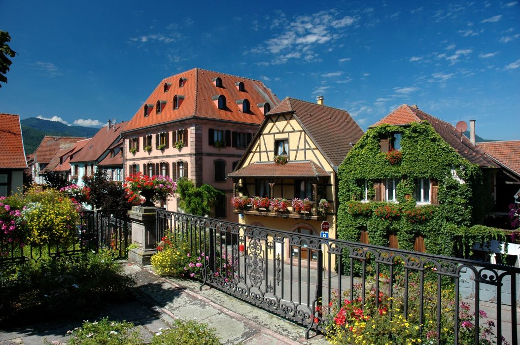 France Houses Fence Street Alsace Bergheim Cities wallpaper