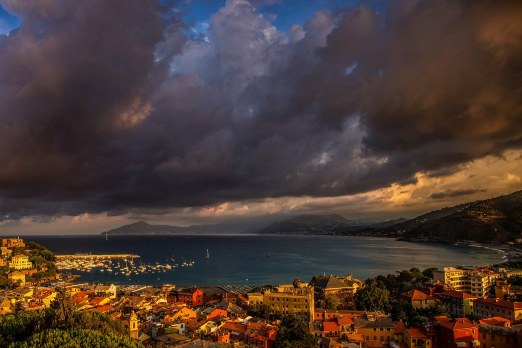 France Houses Marinas Coast Clouds Thundercloud Sestri Levante Cities wallpaper