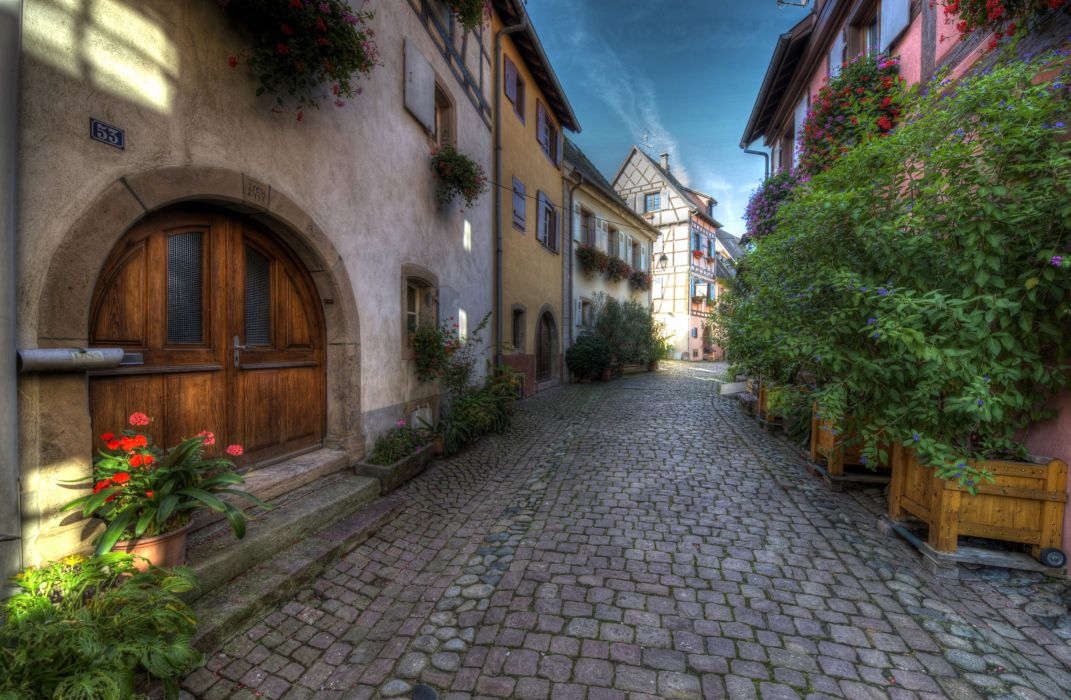 France Houses HDR Street Pavement Eguisheim Elsass Cities wallpaper