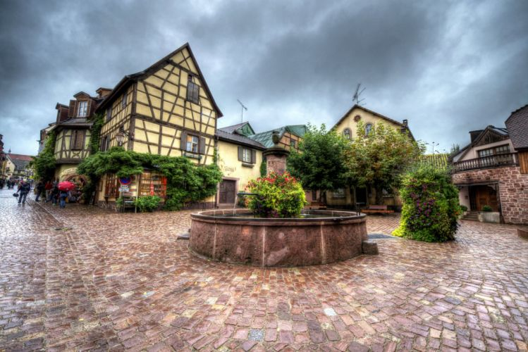 France Houses HDR Street Riquewihr Cities wallpaper