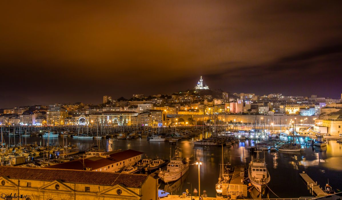 France Houses Marinas Motorboat Night Marseille Cities wallpaper