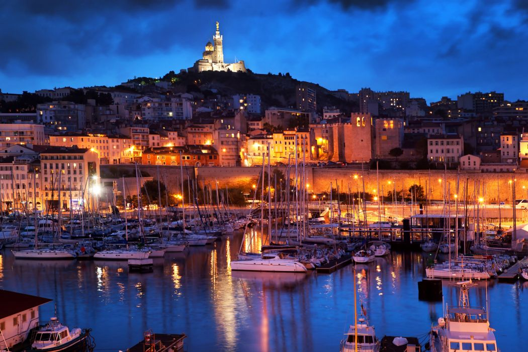France Houses Marinas Ships Sailing Night Street lights Marseille Cities wallpaper