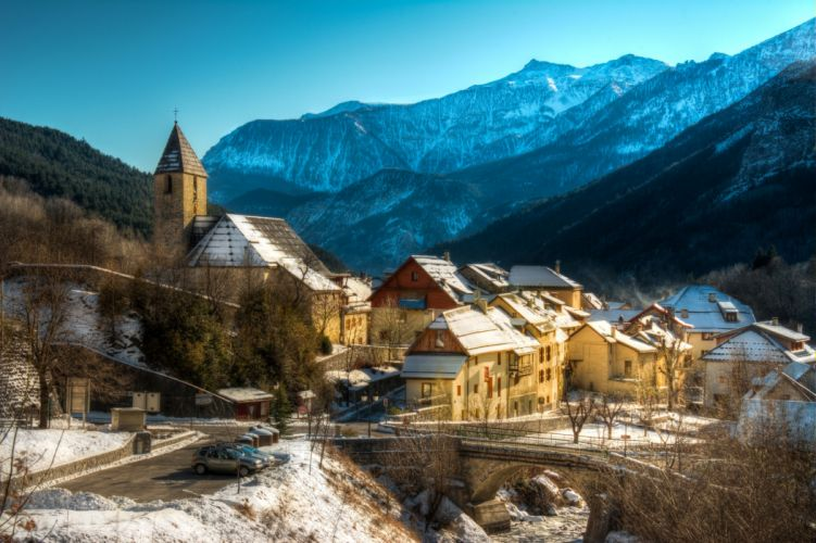 France Houses Mountains Bridges Winter Entraunes Cities wallpaper