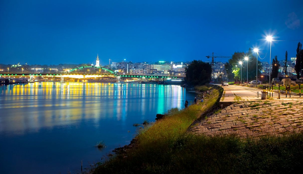 Houses Rivers Bridges Roads Serbia Street lights Night Belgrade Cities wallpaper