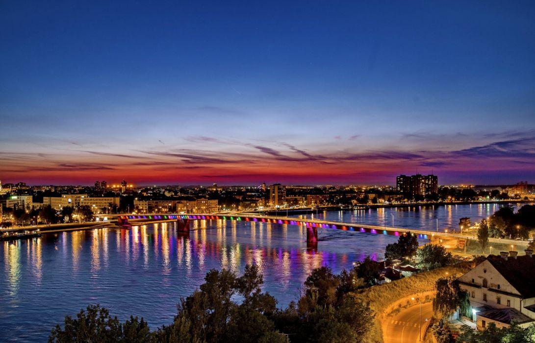 Houses Rivers Bridges Sky Serbia Night Novi Sad Cities wallpaper