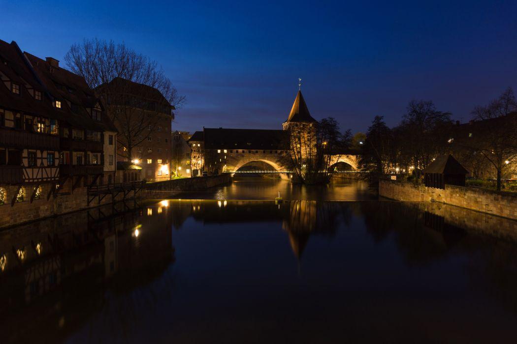 Houses Rivers Bridges Germany Night Nuremberg Cities wallpaper