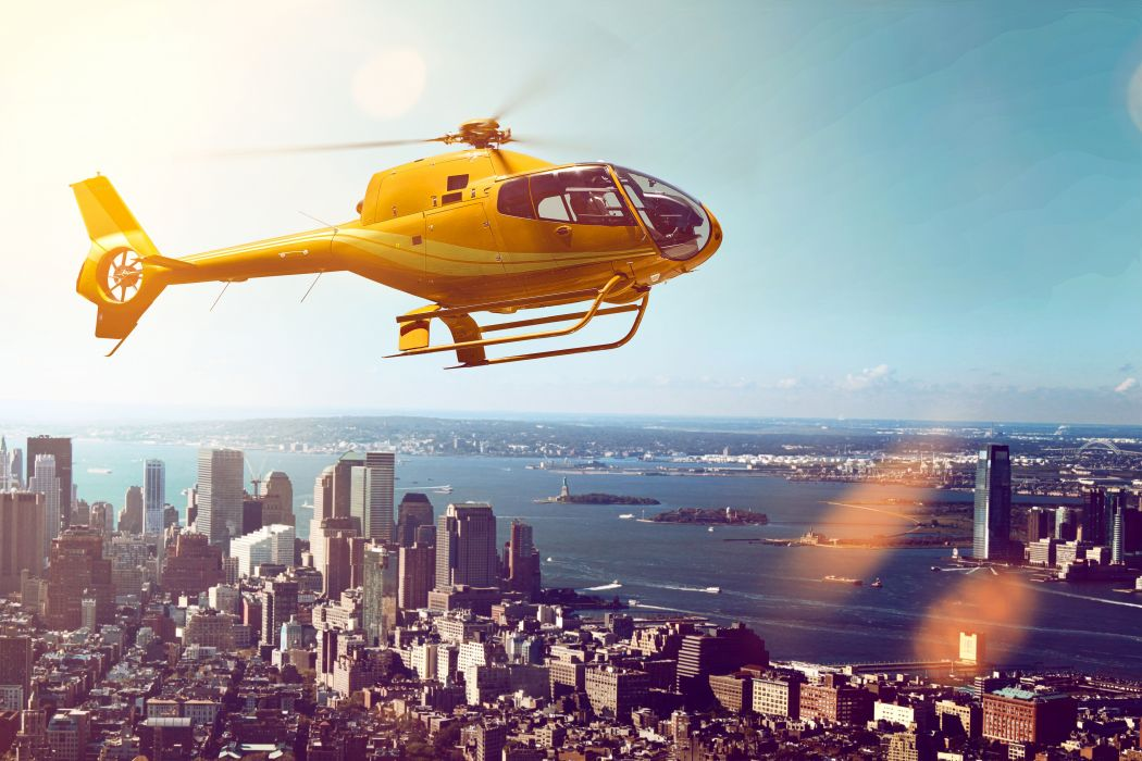 Houses Rivers Helicopter Yellow Aviation Cities wallpaper