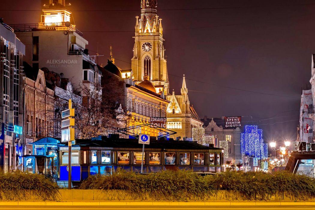 Houses Serbia Night Street lights Novi Sad Cities wallpaper
